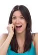 woman calling by mobile phone screaming yelling expression