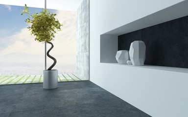Ornamental houseplant and vases