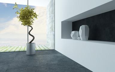 Ornamental houseplant and vases