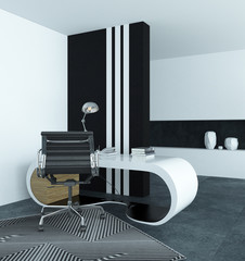 Curved modern white desk in a study