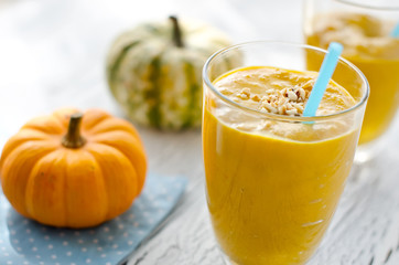 Healthy yellow pumpkin smoothie