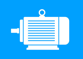 White electric motor on blue background