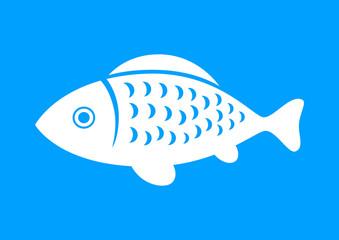 White fish icon on blue background