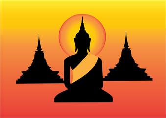 Black Buddha statue and pagoda yellow background