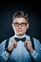 stylish portrait of a Gentleman, glasses and shirt closeup