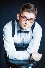 stylish portrait of a Gentleman, glasses and shirt
