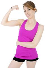 Teenager zeigt Arm mit Muskeln