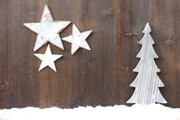 Weihnachtsbaum und Sterne aus Holz