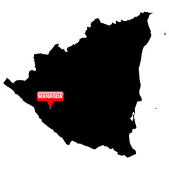 Map with the Capital in a red bubble - Nicaragua.