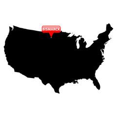 State Capital in red bubble - Bismarck, North Dakota.