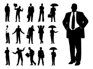 Vector Businesspeople Silhouettes Graphics.