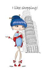 Девушка моды в Лондоне, вектор фон