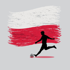 Soccer Player action with Republic of Poland  flag on background