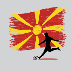 Soccer Player action with Republic of Macedonia flag on backgrou