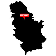 Map with the Capital in a red bubble - Serbia.
