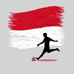 Soccer Player action with Principality of Monaco  flag on backgr