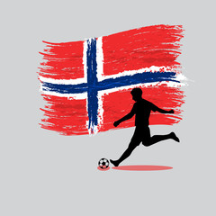 Soccer Player action with Kingdom of Norway flag on background