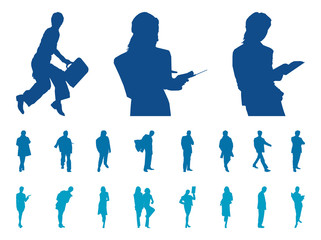Vector Businesspeople Silhouette Set.
