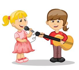 Мультяшные персонажи-музыкант и певец
