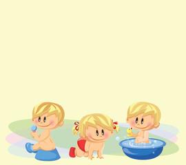 Векторная иллюстрация мальчиков и девочку