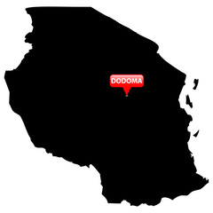 Map with the Capital in a red bubble - Dodoma.