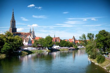 River Danube and Ulm skyline with Ulmer Munster