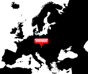 Map over Europe with the Capital in red bubble - Vienna.
