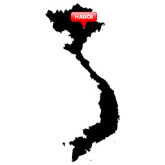 Map with the Capital in a red bubble - Vietnam.