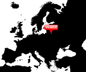 Map over Europe with the Capital in red bubble - Vilnius.