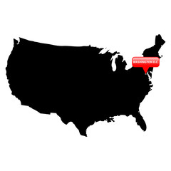 State with the main cities in red bubble - Washington D.C..