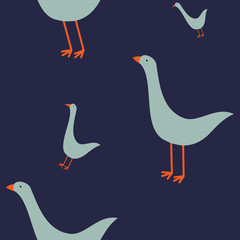 seamless attern with geese on blue background