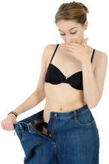 Frau beim Abnehmen durch Diät