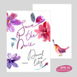 Watercolor card in vector