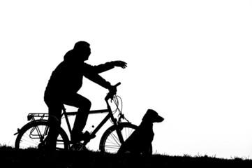 Radfahrer mit Hund
