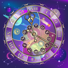 Watch with astrological signs, vector