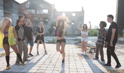 Energetic young hip hop street dancers