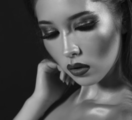 beautiful model with smokey eyes makeup