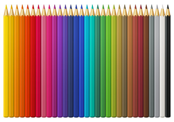 Set of multicolored vector pencils, isolated on white