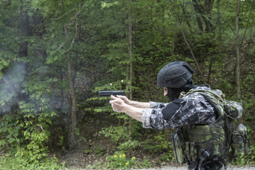 special police unit pistol shooting, outdoor shooting range