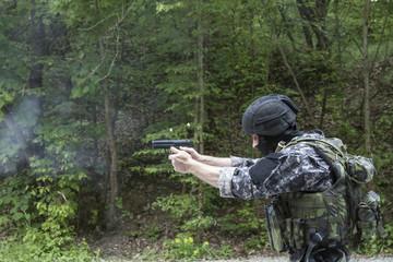 special police unit pistol shooting, outdoor shooting range