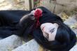 Leinwandbild Motiv Halloween Misterious Dressed Gothic Woman