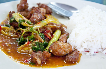 Thai food - Spicy, Basil fried rice with pork ribs