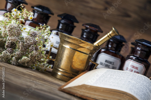 canvas print picture The ancient natural medicine, herbs and medicines