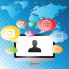 Modern digital computer screen