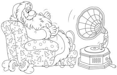 Santa Claus listening to music on his gramophone