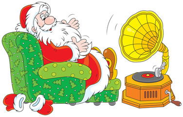 Santa Claus listening to music