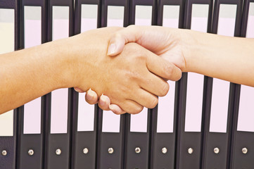 Shaking hands for work success