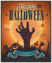 Halloween Zombie Party Poster.