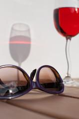 Sunglasses and wine