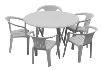 Plastic table and chairs - white